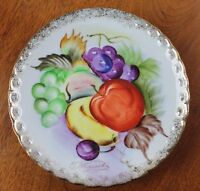 """Vintage Japan Porcelain Hand Painted Gilded Fruit Plate Signed T. Nagasaki 6"""""""