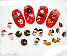 Christmas Mini Candy Cane Clay 3D Nail Art Bows Decoration Gel Polish 10 Pieces