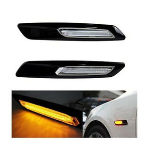LED Fender Side Marker Turn Signal Light Gloss Black Type+Smoked Lens F10 Style