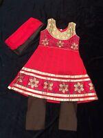 "34"" Age 9-11 Kids Bollywood Salwar Kameez Indian Girls Dress Red Brown Cotton"
