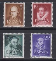 ESPAÑA (1950) MLH NUEVO CON FIJASELLOS SPAIN - EDIFIL 1071/74 LITERATOS - LOTE 1