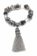 "Glass Bead Bracelet Black Crystal Silver Plated Metal Dangle Charm Stretch 8"""