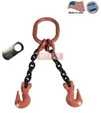 38 G100 Chain Sling 2 Leg Cradle Clevis Grab Hook Dog Made In Usa