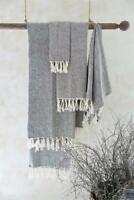 Jeanne d´Arc living Handtuch Gästetuch Badetuch Fransen gewebt Braun 70x140cm