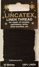 BLACK STRONG LINEN THREAD Lincatex For All Types Of Heavy Duty Mending