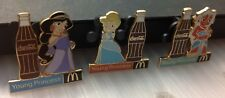 3 coca cola pins  mcdonalds  young princess Jasmine Cinderella