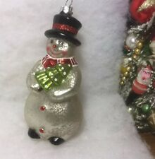 Mercury Glass Snowman Christmas Tree Ornament, Vintage look