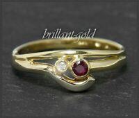 Diamant & Rubin Damen Ring aus 585 Gold, Brillant 1,7mm, Lupenrein