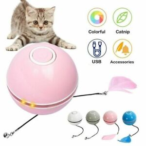 Smart Rechargeable Interactive Cat Toy Colorful LED Self Rotating Catnip Ball