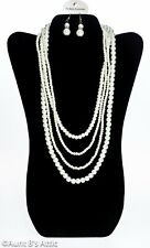 Pearl Necklace & Earring Set Nice Costume 4 Strand Necklace & Pearl Earring Set