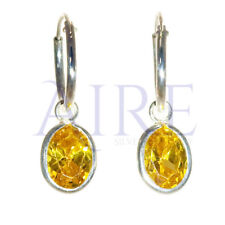 925 Sterling Silver Small Sleeper Style Hoop Earrings with Yellow Oval Stone