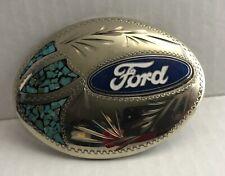 Vintage Turquoise Ford Belt Buckle C&L