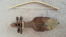 Vintage Hand-carved Sarangi Napal Stringed Instrument With Bow Detailed Folk