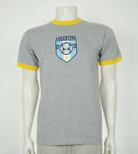 Adidas Argentina National Soccer Team Gray Ringer Shirt Mens Small