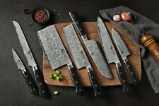 KATSURA Japanese Premium AUS 10 Damascus Steel 67 Layer Chef's Knife set, 7pcs