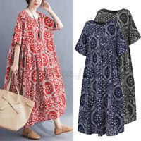 ZANZEA 8-24 Women Summer Printed Floral Sundress Flare Swing Long Maxi Dress