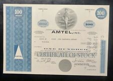 {BJSTAMPS} AMTEL, INC Stock Certificate 1975 Lot of 2