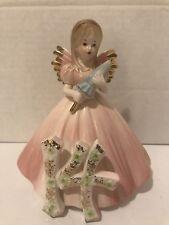Josef Originals Birthday Angel Porcelain Figurine With Pink Dress ~ year 14