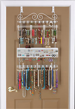 Longstem #5100 White Over the Door Closet Jewelry Organizer Patented Rated Best