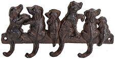Cast Iron Dog Tail Leash Hook Key Wall Rack Pet Puppy 4 Hooks 8.5 Inches Long