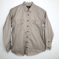 Duluth Trading Men's XL Tall Button Up Front Long Sleeve Shirt Beige Cotton