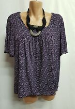 STYLE&CO PETITE PURPLE BLACK SMART CASUAL TOP SIZE L