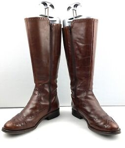 Womens Ladies Clarks size UK 6D (40) Brown Leather Brogue Style Long Boots