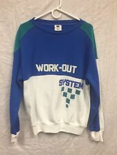 Vintage 80s 90s Work Out System Gym 1980's Funny Workout Bootcamp Sweatshirt L