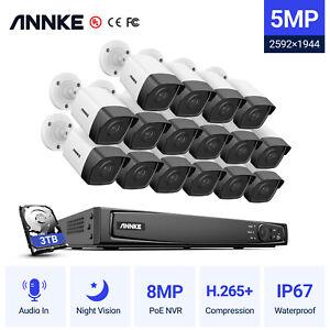 ANNKE POE 5MP IP Caméra Surveillance 16CH 4K 8MP NVR Mouvement Alarme Email H265