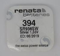 Brand New 1 x 394 Renata Watch Battery (Silver 1.55v SR936SW)- 06/2019 EXP