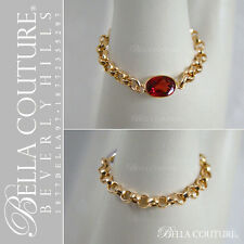 $390 NEW VICTORIAN 14K GOLD GARNET ANTIQUE DIAMOND FACETED VTG CHAIN RING BELLA®