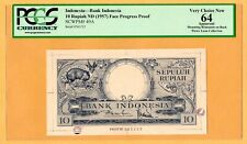 Indonesia Face Progress Proof 10 Rupiah 1957 P-49A PCGS-64 Banknote