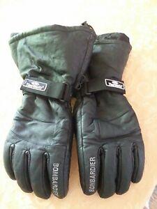 Ski-Doo Bombardier Snowmobile Black Leather Gloves Sz XL