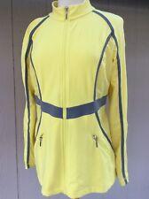 Neiman Marcus Womens Athletic Jacket Full Zip Sz L Yellow Gray Nylon Spandex EUC