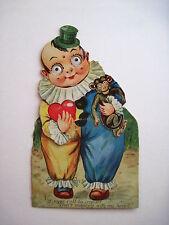 Cute Vintage Antique Mechanical German Valentine w/ Clown Holding Monkey  *