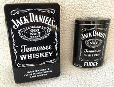 2 X JACK DANIEL'S JD Empty Rectangular/Oval Black Storage Tin Caddy Mancave Bar