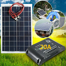 30W 12V PANEL SOLAR PANELS +3M + 20A 12V/24V + CONTROLADOR CARGA ELÉCTRICA