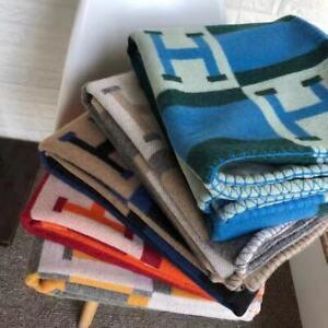 H-Blanket Wool Cashmere Throw Plaid Blankets Shawl Sofa Aircraft Bedding Gift UK