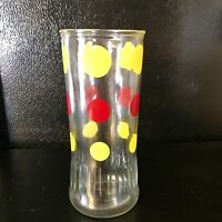 "Vintage Anchor Hocking Polka Dot Tall Glass Yellow Red 6"" X 2 1/2"""