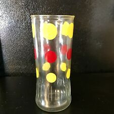 """Vintage Anchor Hocking Polka Dot Tall Glass Yellow Red 6"""" X 2 1/2"""""""