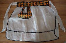Vintage 50's/60's 1/2 Apron White sheer w/Orange Black Gold top and pocket trim