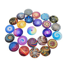20pcs Colorful Round 20mm Flower Pattern Glass Cabochon Mixed Flatback Craft DIY