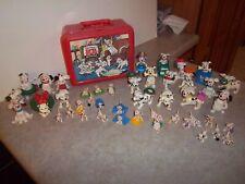 Vintage Disney 101 Dalmation Dog Pvc Toy Figures (44) & Lunchbox Carrying Case