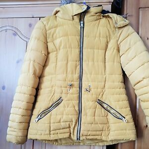 Florence And Fred Mustard Yellow Puffa Jacket Fur Trim Size 10