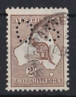K1208) Australia 1913 2/- Brown Kangaroo first watermark punctured small 'OS'