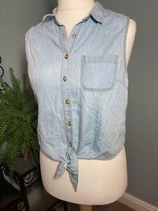 New Look 12 - Denim Style Top Lightweight Tie Detail Button-up Summer Casual