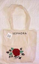 "Authentic Sephora Cotton Shopper Tote Bag Rose Motif 14"" x 14"""