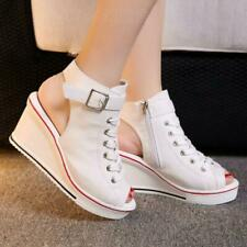Womens High Top Platform Sandals Wedge High Heels Canvas Trainers Boots Shoes Sz