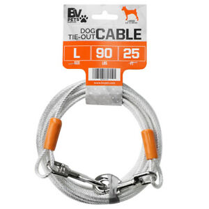 BV Pet Reflective Tie-Out Cable for Large Dogs Up To 90 lbs 25 Ft