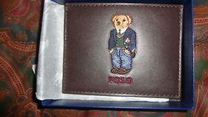 RALPH LAUREN POLO BEAR LEATHER CARD CASE WALLET w/box Preppy Bear Vintage Style